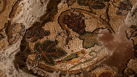 Détail de la mosaïque à l'oiseau - Villa de Séviac - ©Digivision