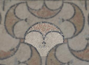 Détail tête de chouette  - Mosaïque aux peltes - Villa de Séviac