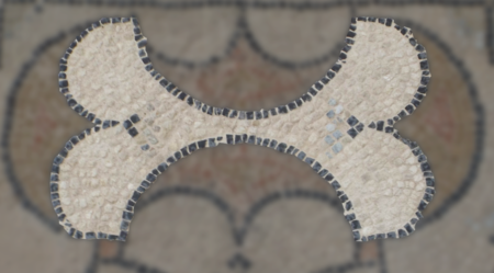 Détail os - Mosaïque aux peltes - Villa de Séviac