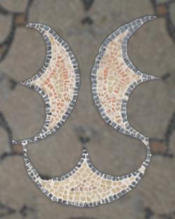 Détail sourire - Mosaïque aux peltes - Villa de Séviac