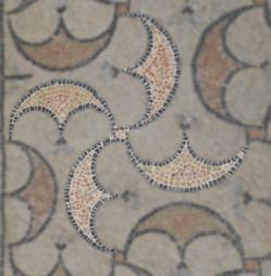 Détail ailes de moulin - Mosaïque aux peltes - Villa de Séviac